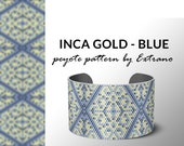 Beading pattern, pattern for bracelet, peyote pattern, peyote bracelet, bracelet pattern, peyote native, uneven peyote - INCA GOLD with blue