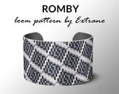 Bead Loom Pattern, Loom Tutorial, Beading Pattern, Loom Beading Pattern, Bracelet Tutorial, Bracelet Pattern, Loom Pattern, 4 colors,  ROMBY