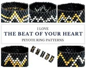 Peyote ring pattern, peyote pattern, ring pattern, peyote ring, even peyote stitch, heartbeat, DIY ring, unisex jewelry BEAT of Your Heart