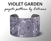 Peyote bracelet pattern, wide cuff pattern, even peyote stitch, peyote pattern, DIY jewelry - VIOLET GARDEN - 3 colors - Instant download