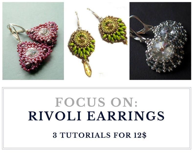 Rivoli earrings set of patterns beading tutorials  image 0