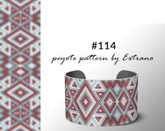 peyote bracelet pattern, peyote pattern, odd count, stitch pattern, pdf file, pdf pattern, 3 colors, beaded bracelet, #114 pattern