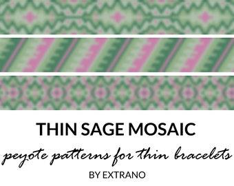 Sage thin peyote bracelets, green color bangle pattern, beading tutorial for bracelet, DIY jewelry set SAGE MOSAIC set of peyote patterns
