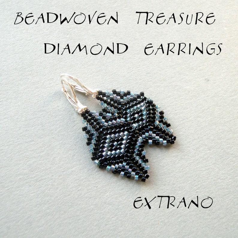 Diamond earrings tutorial peyote earrings pattern cylinder image 0