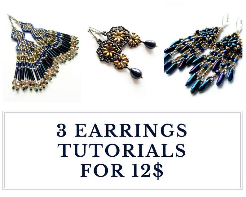 Long earrings tutorials fringed jewelry patterns  Set of image 0