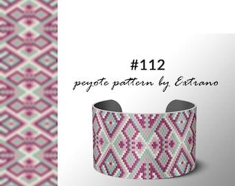 Peyote bracelet pattern, uneven peyote pattern, mosaic peyote pattern, peyote pattern, DIY jewelry #112 - 4 colors, Instant download