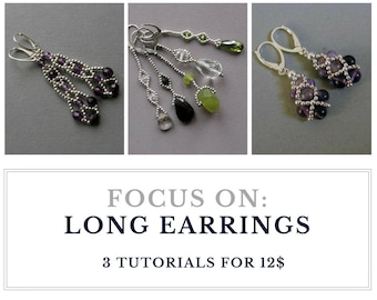 TUTORIAL - Long EARRINGS or PENDANTS : Buy  3 tutorials for 12.00 usd - instant download, set of earrings