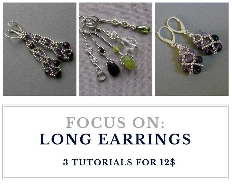 TUTORIAL  Long EARRINGS or PENDANTS : Buy  3 tutorials for image 0