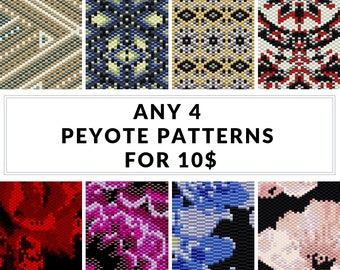 Peyote pattern, bracelet pattern, peyote bracelet, even peyote, uneven peyote, bulk discount - SAVE  - Pick Any 4 Peyote Patterns for 10.00