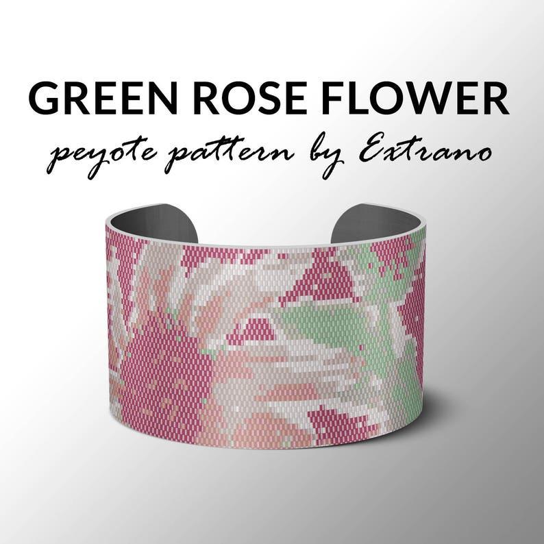 Peyote Bracelet Patterns by Extrano  Green-Rose FLOWER  6 image 0