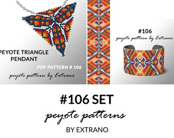 Bracelet with pendant pattern, peyote tutorial, uneven peyote pattern, triangle peyote pattern, pattern for beaded set #106 set