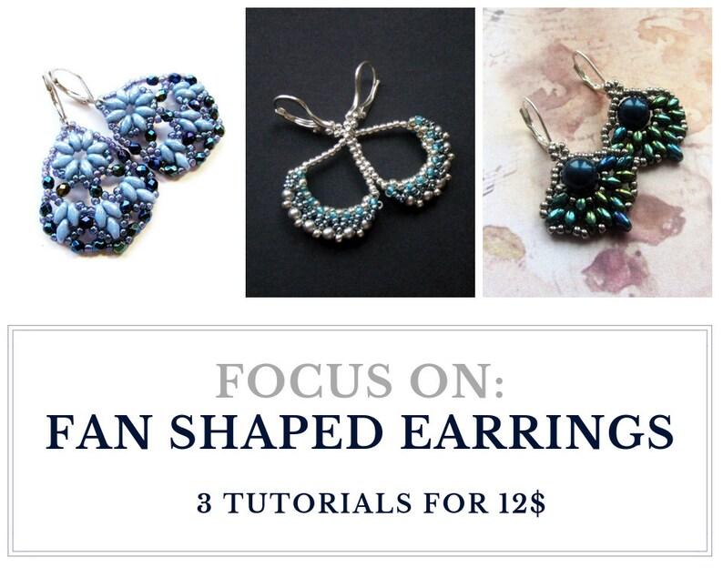 Fan shaped earrings tutorials jewelry patterns  Set of image 0
