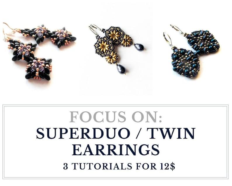 Superduo earrings tutorials Twin beads tutorials  Set of image 0