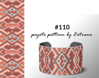 Pattern for wide peyote bracelet, wide cuff pattern, uneven peyote stitch, peyote pattern, DIY jewelry #110 4 colors only - Instant download