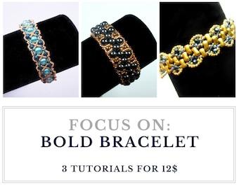 Set of BOLD BRACELET tutorials: Buy 3 for 12.00 usd, save and create endless variations of elegant bold bracelets - instant download