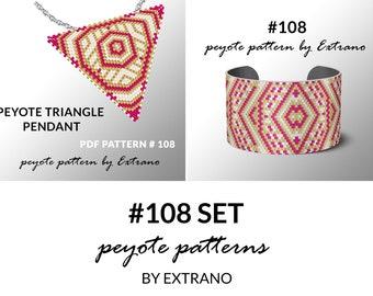 Bracelet with pendant pattern, peyote tutorial, uneven peyote pattern, triangle peyote pattern, pattern for beaded set #108 set