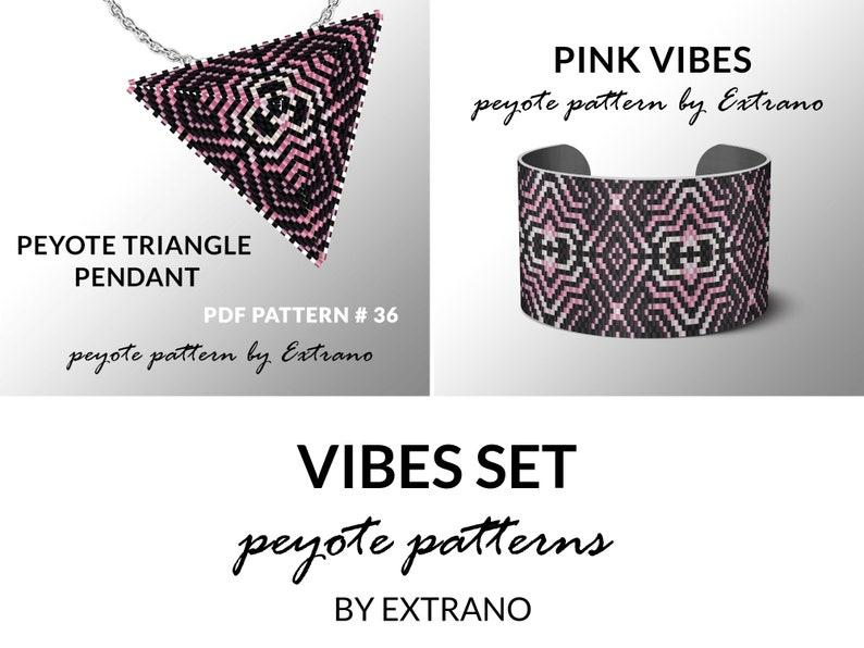 Peyote set bracelet with pendant pattern peyote set uneven image 0