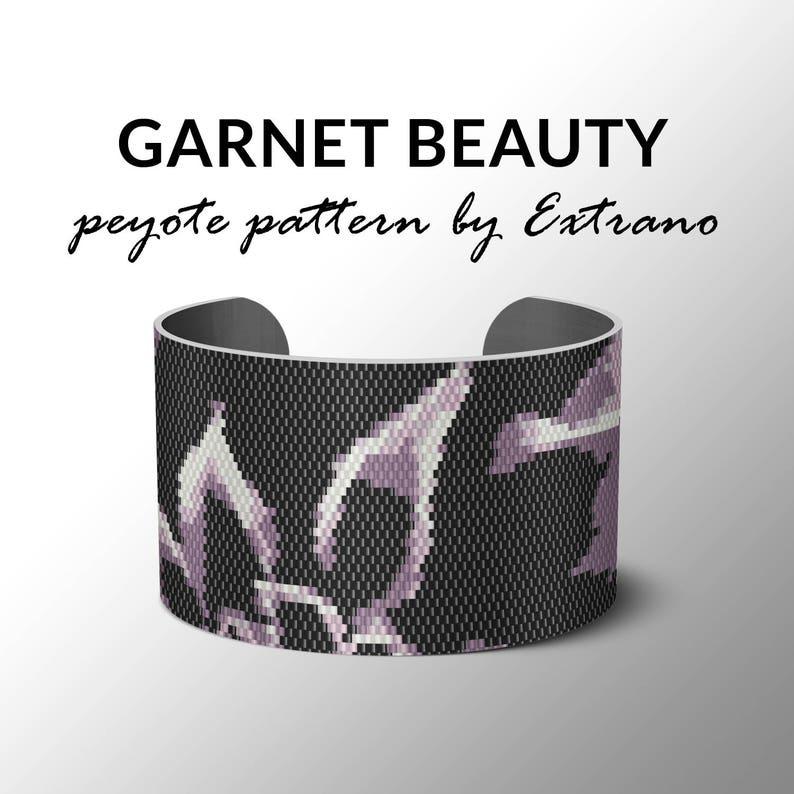 Peyote Bracelet Patterns by Extrano  GARNET BEAUTY  4 colors image 0