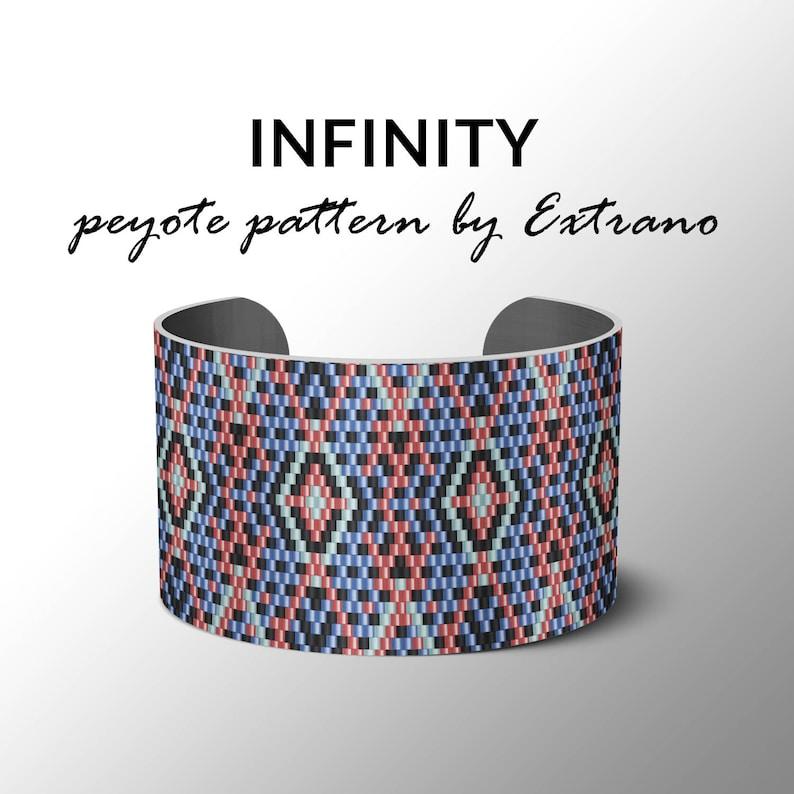 Peyote bracelet pattern wide cuff pattern uneven peyote image 0