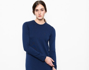 Women's tee dress Terry bamboo rayon cotton navy or black. Long sleeves. Backline detail. Round neckline. Longer back. Casual minimalist