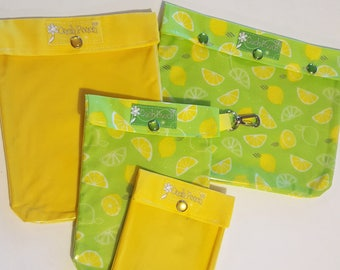 Clearance Lemon/Yellow Clear Pocket Organizers 4 Sizes First Aid Meds Cosmetics Diapers Luggage Carry On Baby Totes Cheerful Hospital Bag