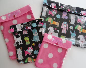 Clearance Puppy Dogs & Polka Dots Ouch Pouch 4 Piece Set Clear Front Bags Baby Diaper Wipes First Aid Travel Girls Accessories Shower Gift
