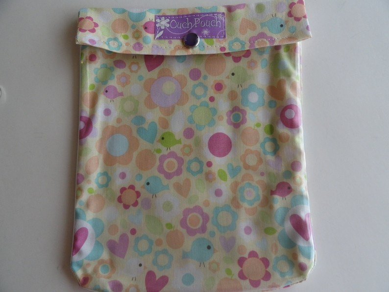 Clearance Birds /& Flowers Diaper Bag Organizer Ouch Pouch Large 6x8 Clear Front First Aid Case DayCare Snack Purse Toddler Girl Gift