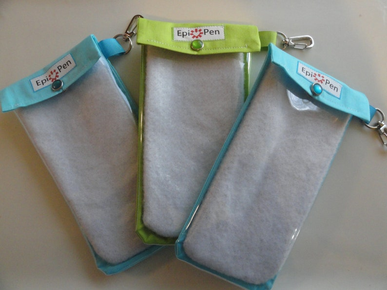 EpiPen Cases 3 Pack Clear Front Pouch with Swivel Clip Medical ID Card Holds 2 Allergy Injector Pens TSA Safe Your Choice Fabrics