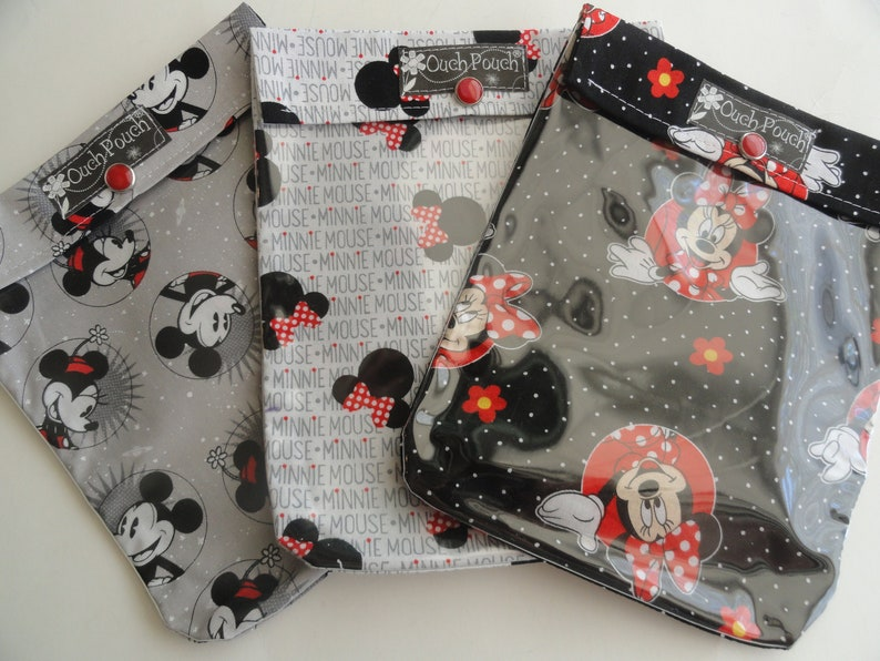 Disney Mickey Mouse Ouch Pouch 3 Pack 6x8 Clear Front Pocket First Aid Kit Toiletries Diaper Bag Purse Organizer Cruise Fish Extender Gifts