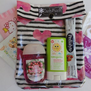 Medium 5x7 Vinyl /& Fabric Koala Bear Ouch Pouch Clear Front First Aid Baby Toddler Supplies Organizer Diaper Bag Insert
