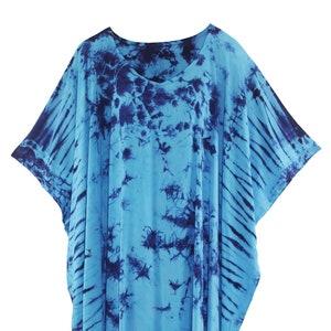 Blue Women Tie Dye Caftan Kaftan Maxi Long Dress XL  1X 2X 3X 4X