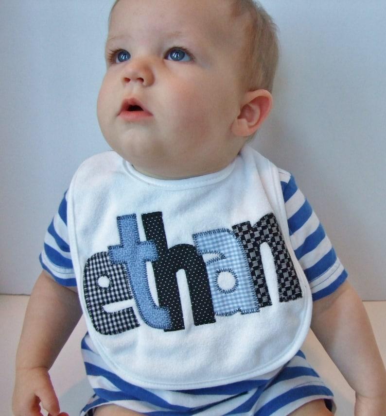 Personalized Baby Bib Appliquedblue and blackBaby Boy BibBaby Shower GiftBaby Name AnnouncementDrool Bibbaby boy giftnewborn