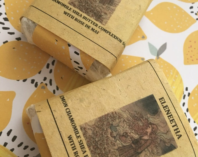 Lemon Chamomile shea butter soap with rose de mai and vanilla gentle goodness