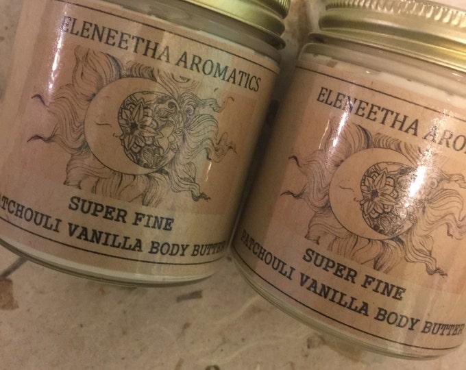 Super Fine Patchouli Vanilla Body Butter warm patchouli vanilla notes
