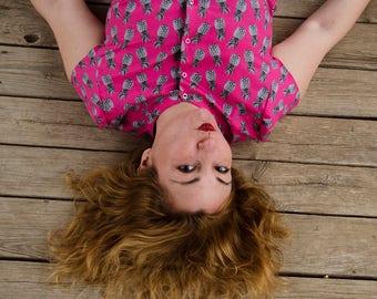 Pink Pineapple Shirt, Cotton Print Shirt, Button Down Shirt, Short Sleeves Kawaii Blouse Custom Made Shirt