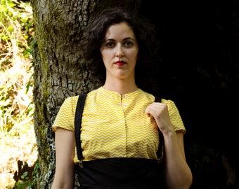 Yellow Chevron Shirt, Cotton Geometric Print Shirt, Button Down Shirt, Short Sleeves Blouse Custom Made Shirt
