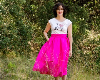 Hot Pink Maxi Skirt, Fuschia Statement Skirt Silk Shantung Long Evening Pleats Pockets, Prom Skirt, Customize color and length, Plus sizes