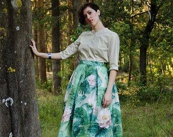 Floral Full Skirt with Water Lilies Watercolor Print, Cotton Maxi Skirt With Pleats, Long Skirt with Pockets, Mint Pistachio Rose Skirt