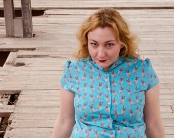 Pineapple Shirt, Cotton Blue Print Shirt, Button Down Shirt, Short Sleeves Kawaii Blouse Custom Made Shirt