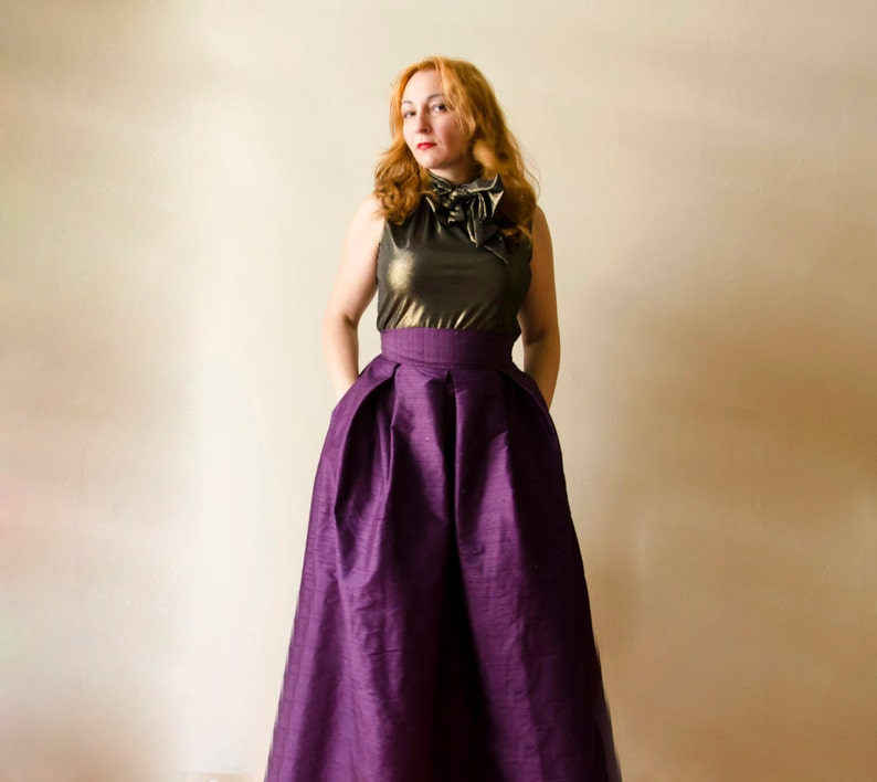 f19d84773f Formal Ball Gown in Dark Purple Full Silk Evening Skirt with | Etsy