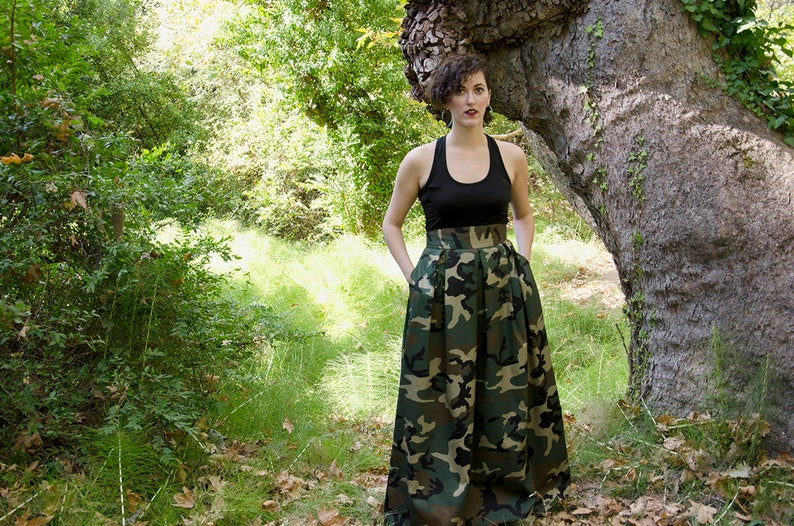 485f498aeb09 Camouflage Maxi Skirt Army Fatigue High Waist Cotton Long | Etsy