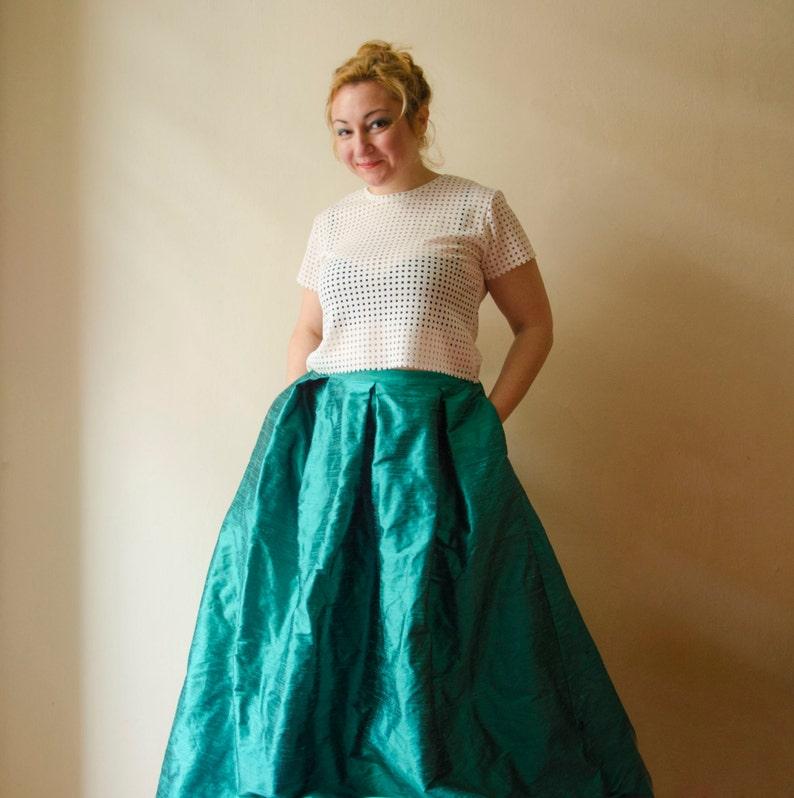 76e0f52ff Mint Maxi Skirt Dark Mint Ball Gown Long Evening Skirt with | Etsy