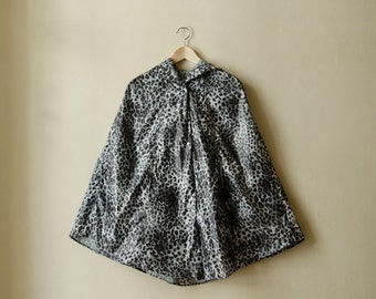 Leopard Gray Raincoat, Womens Rain Cape with Hood, Available in Brown and Gray Animal Print