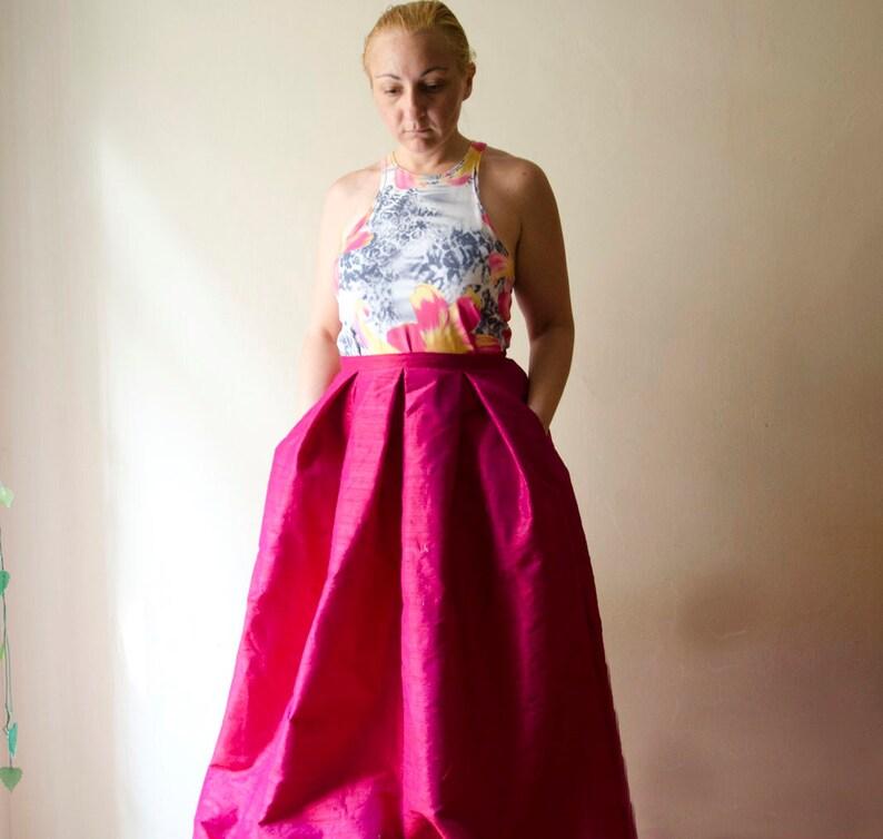 614181a16 Ruby Pink Maxi Skirt Silk Shantung Long Evening Skirt Pleats | Etsy