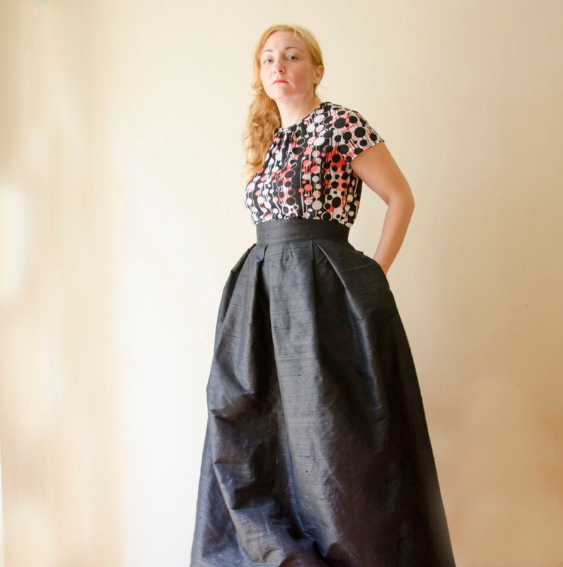 66113cdb6 Black Maxi Full Skirt Silk Shantung High Waist Long Evening | Etsy