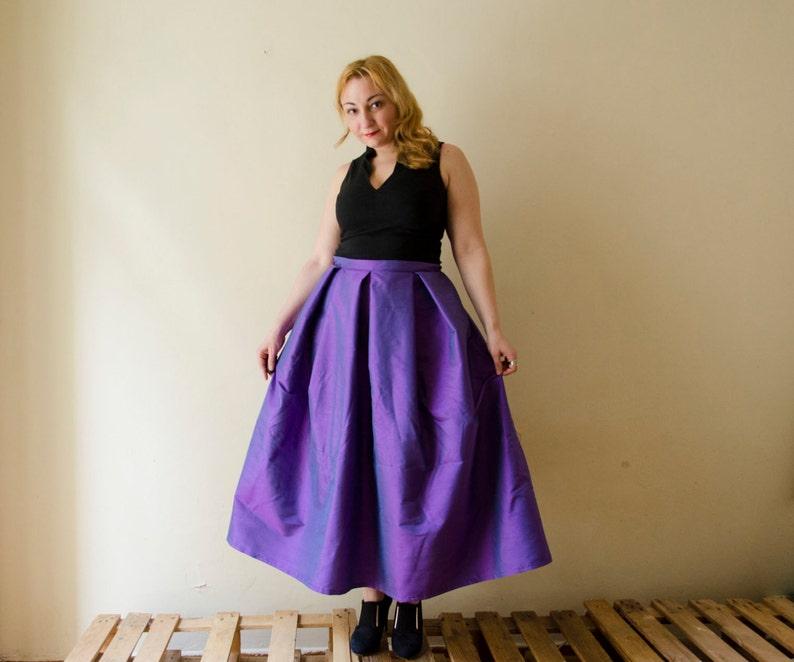 98580ba8e Violet Maxi Full Skirt Silk Shantung High Waist Long Evening | Etsy