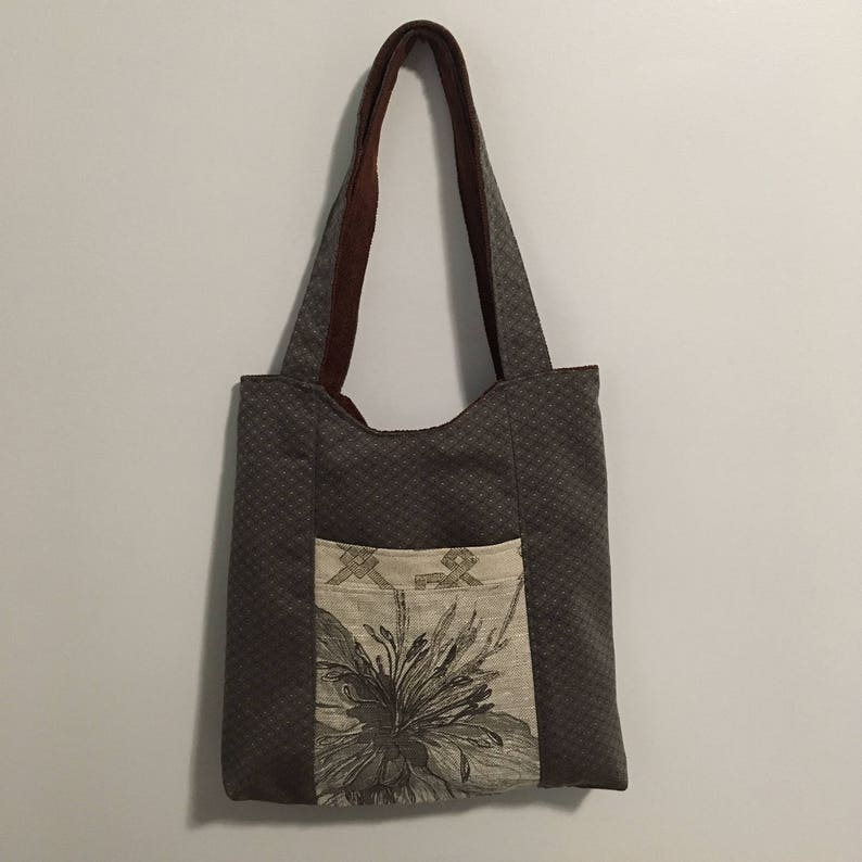 Gray and Rust Reversible Tote Bag Purse image 0