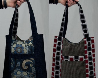 Navy Blue and Gray Reversible Tote Bag Purse