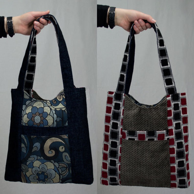 Navy Blue and Gray Reversible Tote Bag Purse image 0