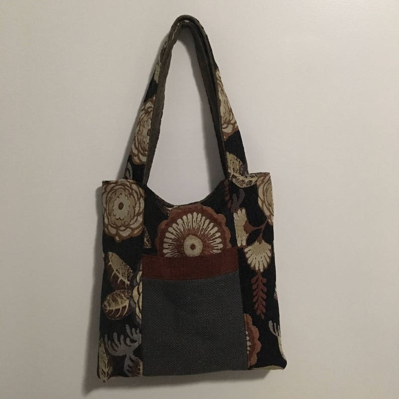 Black Floral and Gray Bamboo Reversible Tote Bag Purse image 0